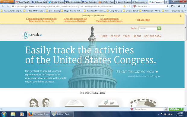 Click the GovTrack.us link below for the  GovTrack.us Log  in page